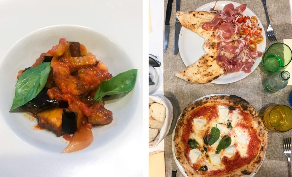 caponata e pizza napoletana