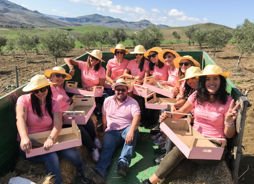 Il team della vendemmia in rosa sopra il trattore