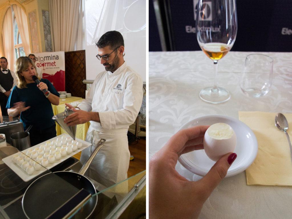 """Accursio Craparo, chef 1 stella Michelin del ristorante Accursio, con il suo piatto """"Uovo a la coque"""" - saporite"""
