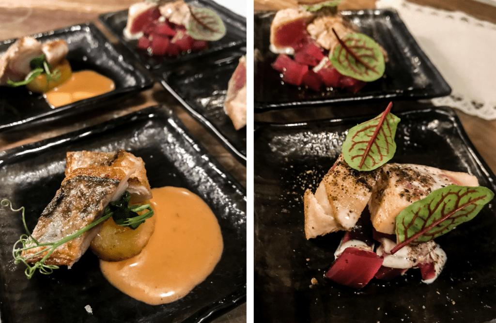 """filetto di sgombro in """"insalata pantesca"""", tocchetto di tonno pinna gialla con cipolla rossa - saporite e villa igiea"""