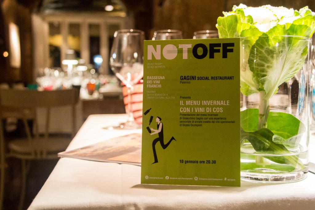 La cena NOTOFF con il menu invernale di Gioacchino Gaglio al Gagini insieme ai vini AZIENDA AGRICOLA COS - saporite