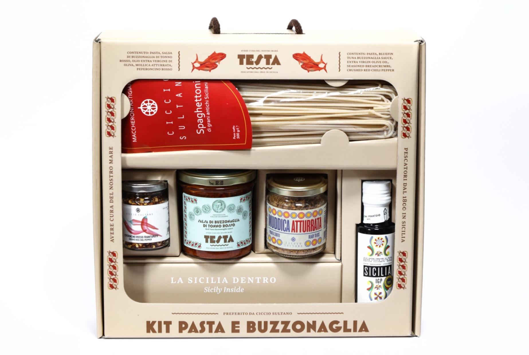 confezioni regalo kit pasta tonno rosso buzzonaglia- Testa Conserve (Sicilia)